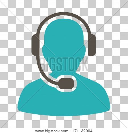 Call Center Operator icon. Vector illustration style is flat iconic bicolor symbol grey and cyan colors transparent background. Designed for web and software interfaces.