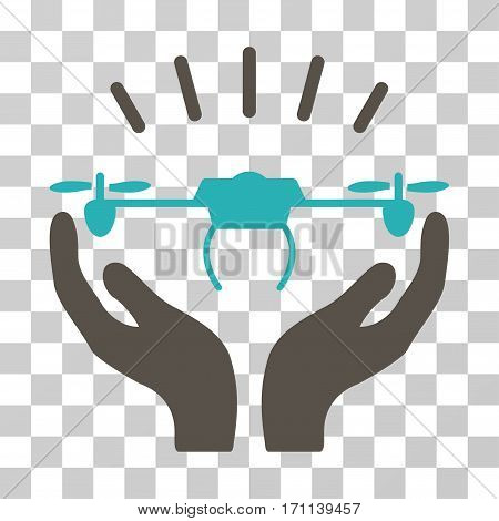 Drone Launch Hands icon. Vector illustration style is flat iconic bicolor symbol grey and cyan colors transparent background. Designed for web and software interfaces.