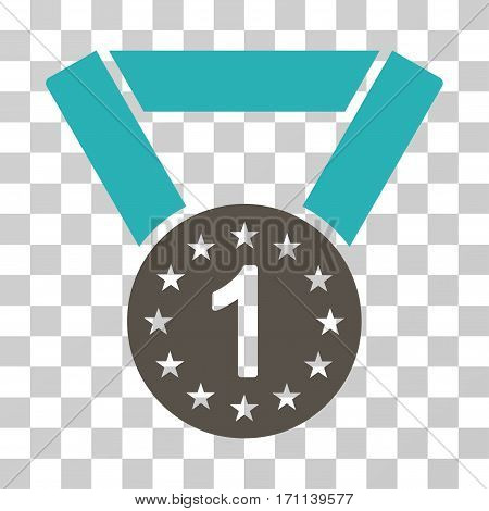 First Medal icon. Vector illustration style is flat iconic bicolor symbol grey and cyan colors transparent background. Designed for web and software interfaces.