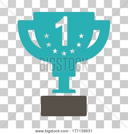 First Prize Cup icon. Vector illustration style is flat iconic bicolor symbol grey and cyan colors transparent background. Designed for web and software interfaces.