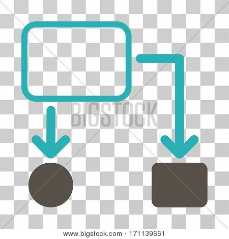 Flowchart Scheme icon. Vector illustration style is flat iconic bicolor symbol grey and cyan colors transparent background. Designed for web and software interfaces.