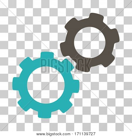 Gears icon. Vector illustration style is flat iconic bicolor symbol grey and cyan colors transparent background. Designed for web and software interfaces.