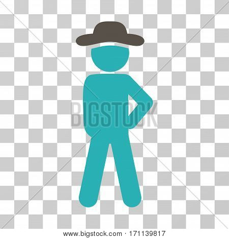 Gentleman Audacity icon. Vector illustration style is flat iconic bicolor symbol grey and cyan colors transparent background. Designed for web and software interfaces.