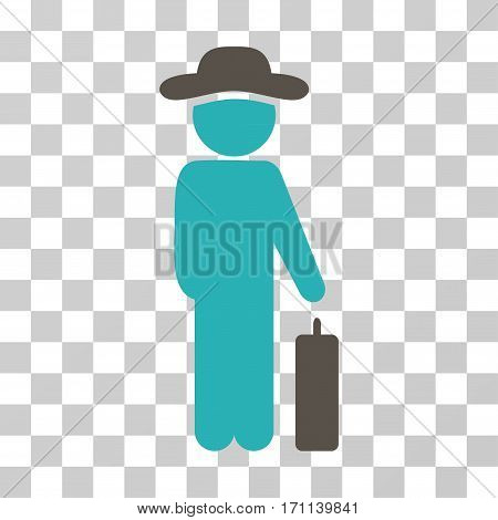 Gentleman Baggage icon. Vector illustration style is flat iconic bicolor symbol grey and cyan colors transparent background. Designed for web and software interfaces.