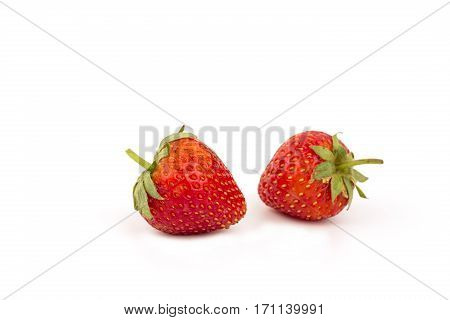 Fresh strawberries close up on isolate background.