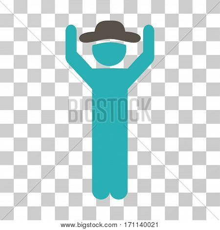 Gentleman Hands Up icon. Vector illustration style is flat iconic bicolor symbol grey and cyan colors transparent background. Designed for web and software interfaces.
