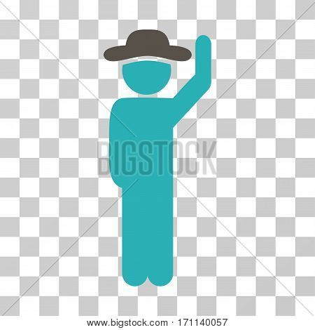 Gentleman Hello icon. Vector illustration style is flat iconic bicolor symbol grey and cyan colors transparent background. Designed for web and software interfaces.