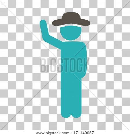 Gentleman Hitchhike icon. Vector illustration style is flat iconic bicolor symbol grey and cyan colors transparent background. Designed for web and software interfaces.