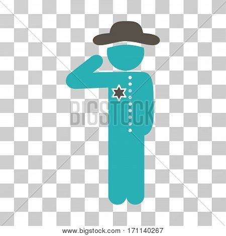Gentleman Officer icon. Vector illustration style is flat iconic bicolor symbol grey and cyan colors transparent background. Designed for web and software interfaces.