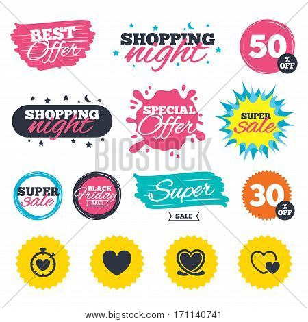 Sale shopping banners. Special offer splash. Heart ribbon icon. Timer stopwatch symbol. Love and Heartbeat palpitation signs. Web badges and stickers. Best offer. Vector
