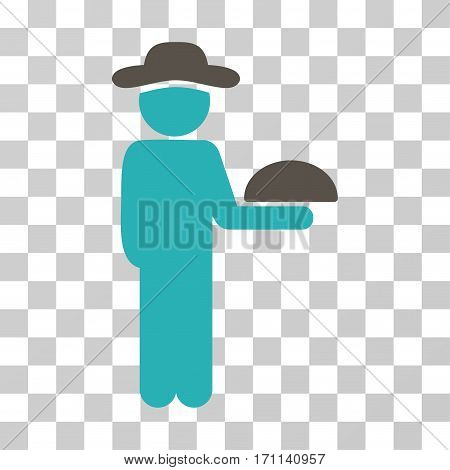 Gentleman Waiter icon. Vector illustration style is flat iconic bicolor symbol grey and cyan colors transparent background. Designed for web and software interfaces.