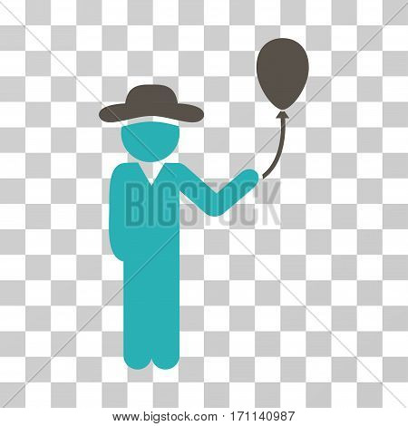 Gentleman With Balloon icon. Vector illustration style is flat iconic bicolor symbol grey and cyan colors transparent background. Designed for web and software interfaces.