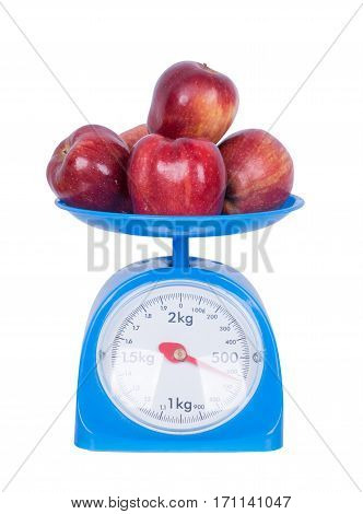 Apple On Kitchen Scale Isolated On White Background
