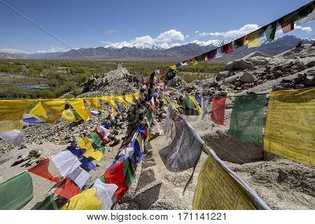 Tibetan Prayer Flags At Shey Palace, Leh-ladakh, India