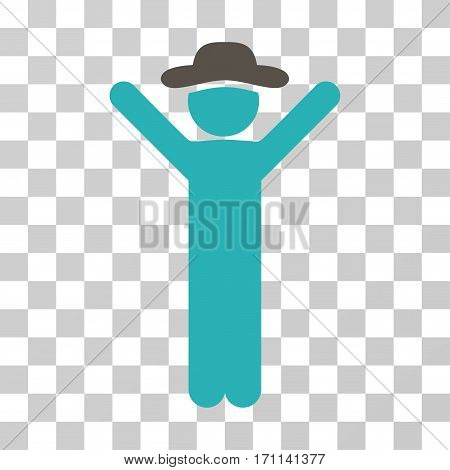 Happy Gentleman icon. Vector illustration style is flat iconic bicolor symbol grey and cyan colors transparent background. Designed for web and software interfaces.