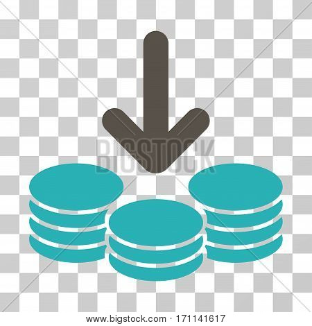 Income Coins icon. Vector illustration style is flat iconic bicolor symbol grey and cyan colors transparent background. Designed for web and software interfaces.
