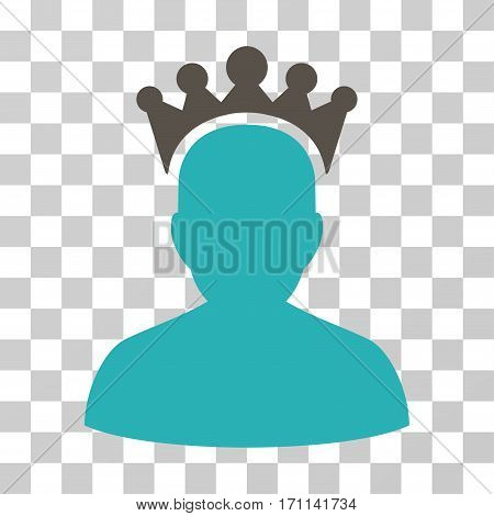 King icon. Vector illustration style is flat iconic bicolor symbol grey and cyan colors transparent background. Designed for web and software interfaces.