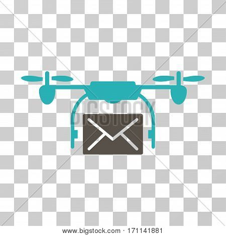 Mail Delivery Drone icon. Vector illustration style is flat iconic bicolor symbol grey and cyan colors transparent background. Designed for web and software interfaces.