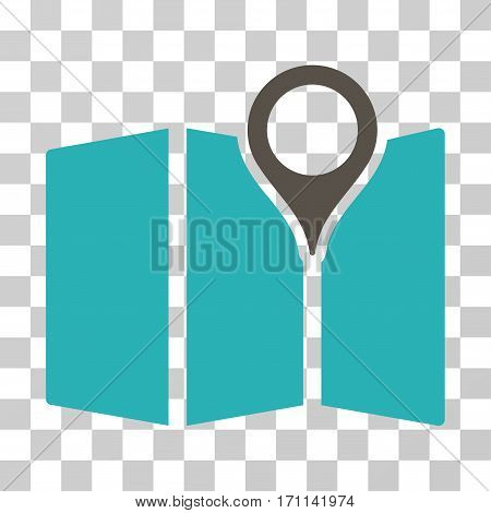 Map icon. Vector illustration style is flat iconic bicolor symbol grey and cyan colors transparent background. Designed for web and software interfaces.
