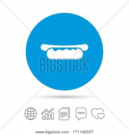 Hotdog sandwich with mustard icon. Sausage symbol. Fast food sign. Copy files, chat speech bubble and chart web icons. Vector