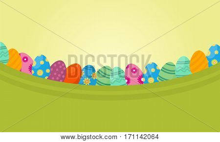 Vector flat of lined easter egg collection stock