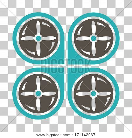 Nanocopter Screws Rotaion icon. Vector illustration style is flat iconic bicolor symbol grey and cyan colors transparent background. Designed for web and software interfaces.