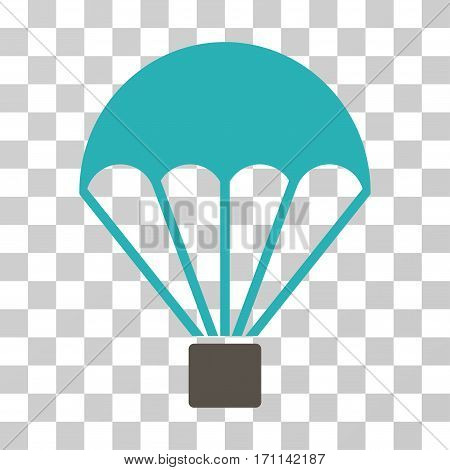 Parachute icon. Vector illustration style is flat iconic bicolor symbol grey and cyan colors transparent background. Designed for web and software interfaces.