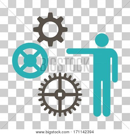 Project Mechanics icon. Vector illustration style is flat iconic bicolor symbol grey and cyan colors transparent background. Designed for web and software interfaces.