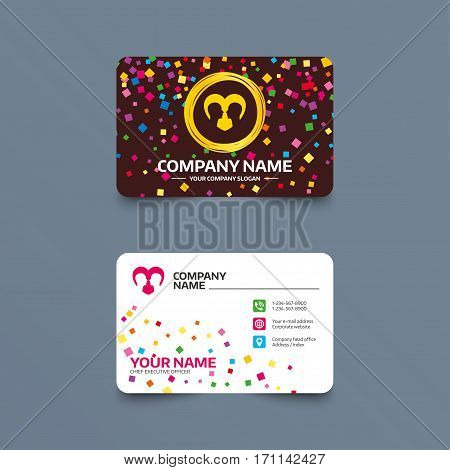 Business card template with confetti pieces. Gay couple sign icon. Male love male. Romantic homosexual relationships with heart. Phone, web and location icons. Visiting card  Vector