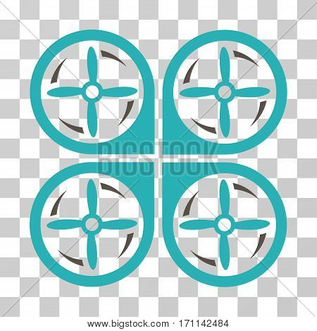 Quadrotor Screws Rotation icon. Vector illustration style is flat iconic bicolor symbol grey and cyan colors transparent background. Designed for web and software interfaces.