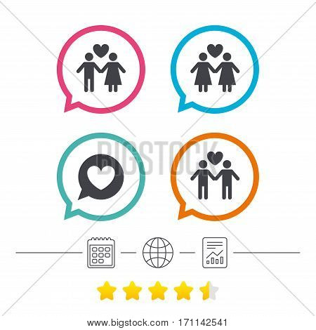 Couple love icon. Lesbian and Gay lovers signs. Romantic homosexual relationships. Speech bubble with heart symbol. Calendar, internet globe and report linear icons. Star vote ranking. Vector