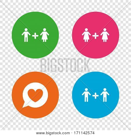 Couple love icon. Lesbian and Gay lovers signs. Romantic homosexual relationships. Speech bubble with heart symbol. Round buttons on transparent background. Vector