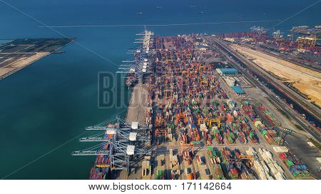 Landscape from bird eye view for Laem chabang logistic port Chonburi Thailand. Logistic delivery container and delivery concept
