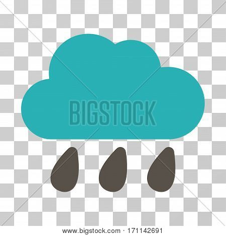 Rain Cloud icon. Vector illustration style is flat iconic bicolor symbol grey and cyan colors transparent background. Designed for web and software interfaces.