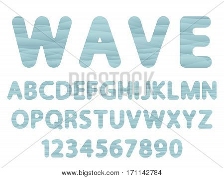 blue gradient vector font of english alphabet caps letters and numerals as waves shape