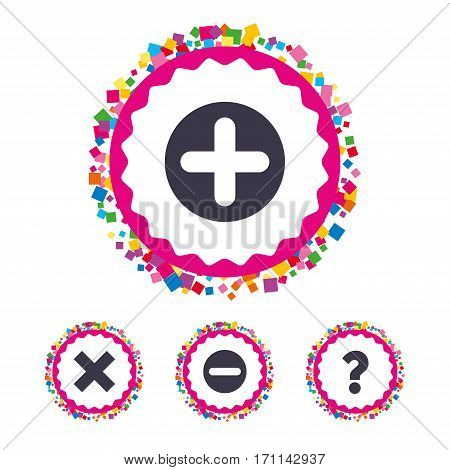 Web buttons with confetti pieces. Plus and minus icons. Delete and question FAQ mark signs. Enlarge zoom symbol. Bright stylish design. Vector