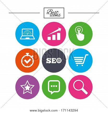 Internet, seo icons. Online shopping, charts and speed signs. Chat messages symbol. Classic simple flat icons. Vector