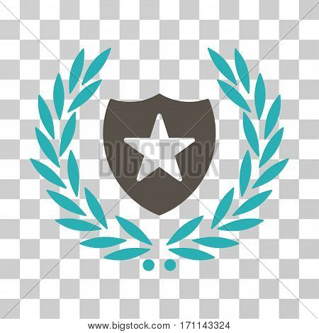 Shield Laurel Wreath icon. Vector illustration style is flat iconic bicolor symbol grey and cyan colors transparent background. Designed for web and software interfaces.