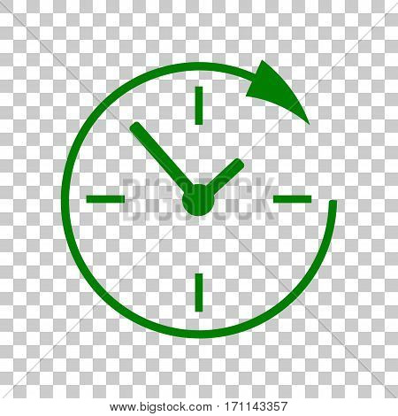 Service and support for customers around the clock and 24 hours. Dark green icon on transparent background.