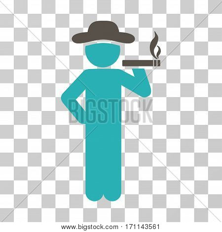Smoking Gentleman icon. Vector illustration style is flat iconic bicolor symbol grey and cyan colors transparent background. Designed for web and software interfaces.