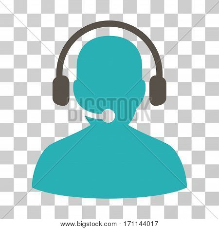 Telemarketing icon. Vector illustration style is flat iconic bicolor symbol grey and cyan colors transparent background. Designed for web and software interfaces.