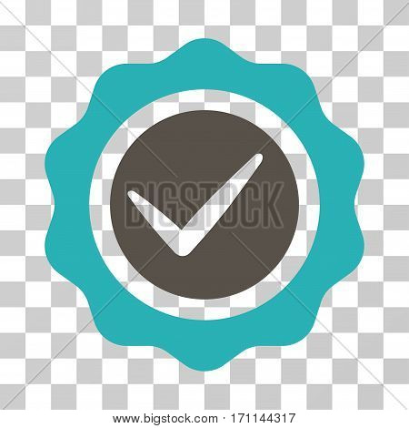 Valid Seal icon. Vector illustration style is flat iconic bicolor symbol grey and cyan colors transparent background. Designed for web and software interfaces.