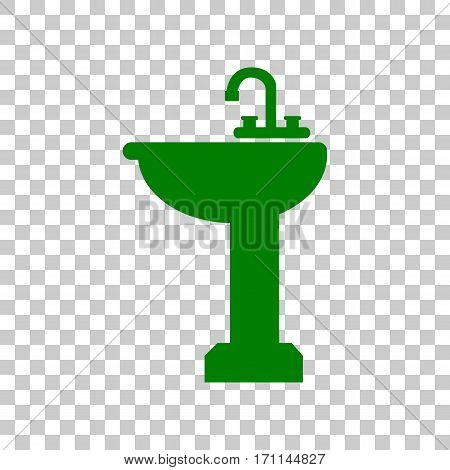 Bathroom sink sign. Dark green icon on transparent background.