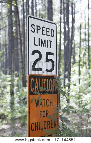 Speed Limit Sign In The Woods