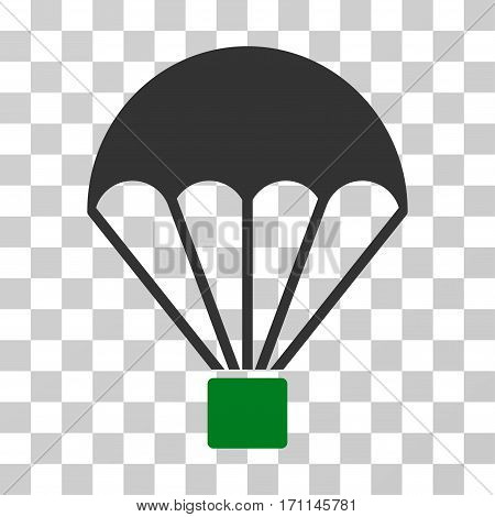 Parachute icon. Vector illustration style is flat iconic bicolor symbol green and gray colors transparent background. Designed for web and software interfaces.