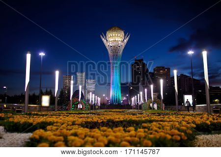 ASTANA, KAZAKHSTAN - July 18, 2016: Baiterek - monument in the capital of Kazakhstan, Astana, one of the main attractions of the city. Evening