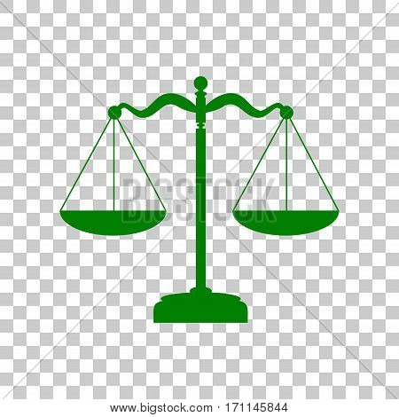 Scales balance sign. Dark green icon on transparent background.