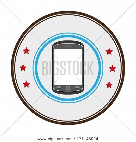 color circular frame with stars and cellphone vector illustration
