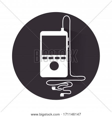 black round frame with portable music device and headphones vector illustration