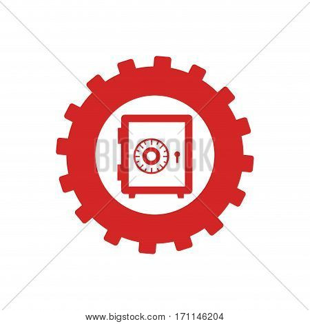 monochrome gear with safe-deposit box vector illustration
